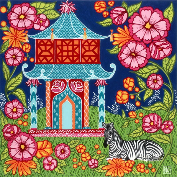 Image of Chinoiserie Garden In Teal Art Print