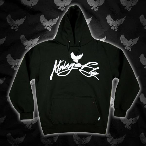 Image of Black/White Always Fly Script Hoodie