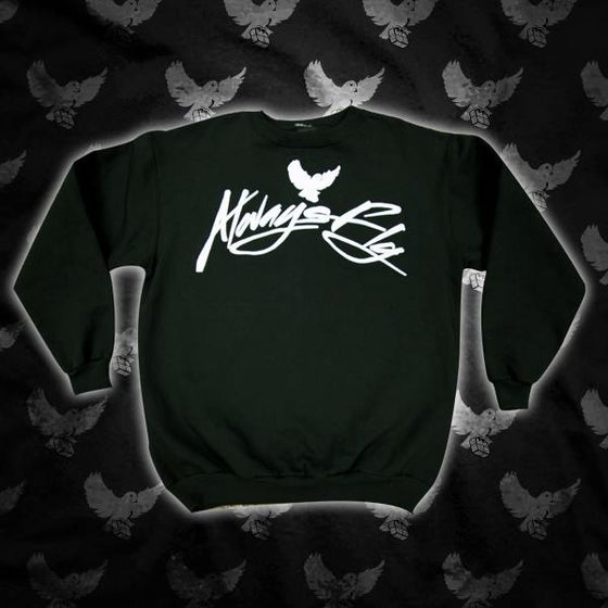 Image of Black/White Always Fly Script Crewneck