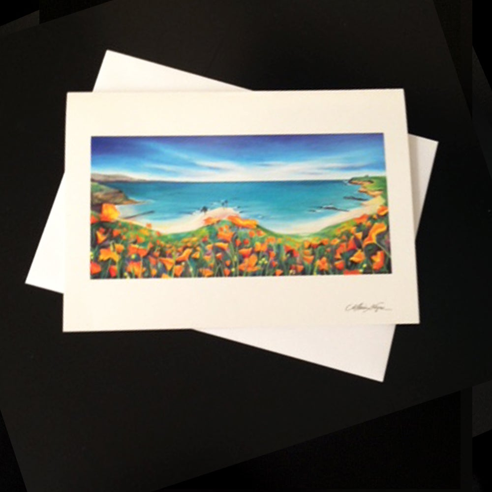 Image of Santa Cruz Poppies & Surf 5-Pack Greeting Card Set