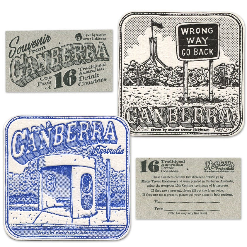 Image of 16 Letterpress Coasters from Canberra and Newcastle