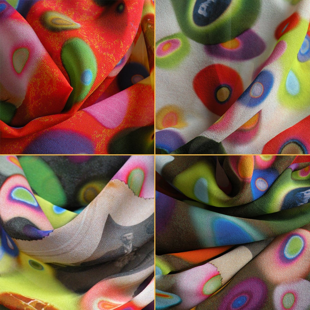 Image of Digitally printed silk scarf Gene