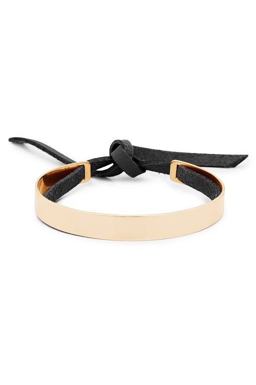 Image of Stripe Bracelet with Leather Band Men's Gold