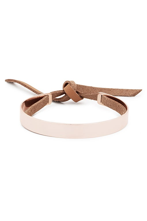 Image of Stripe Bracelet with Leather Band Gold or Rosé