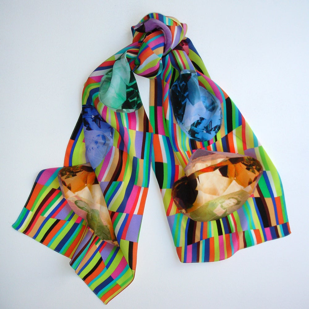 Image of Digitally printed silk scarf Blood Relatives
