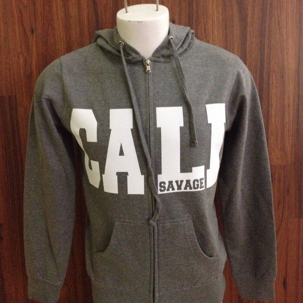 Image of Unisex - Cali Savage Gray Zip up hoody