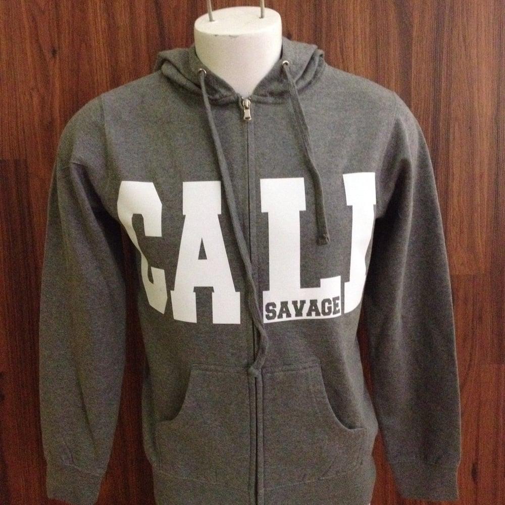 Image of Unisex - Cali Savage Gray Zip up hoody