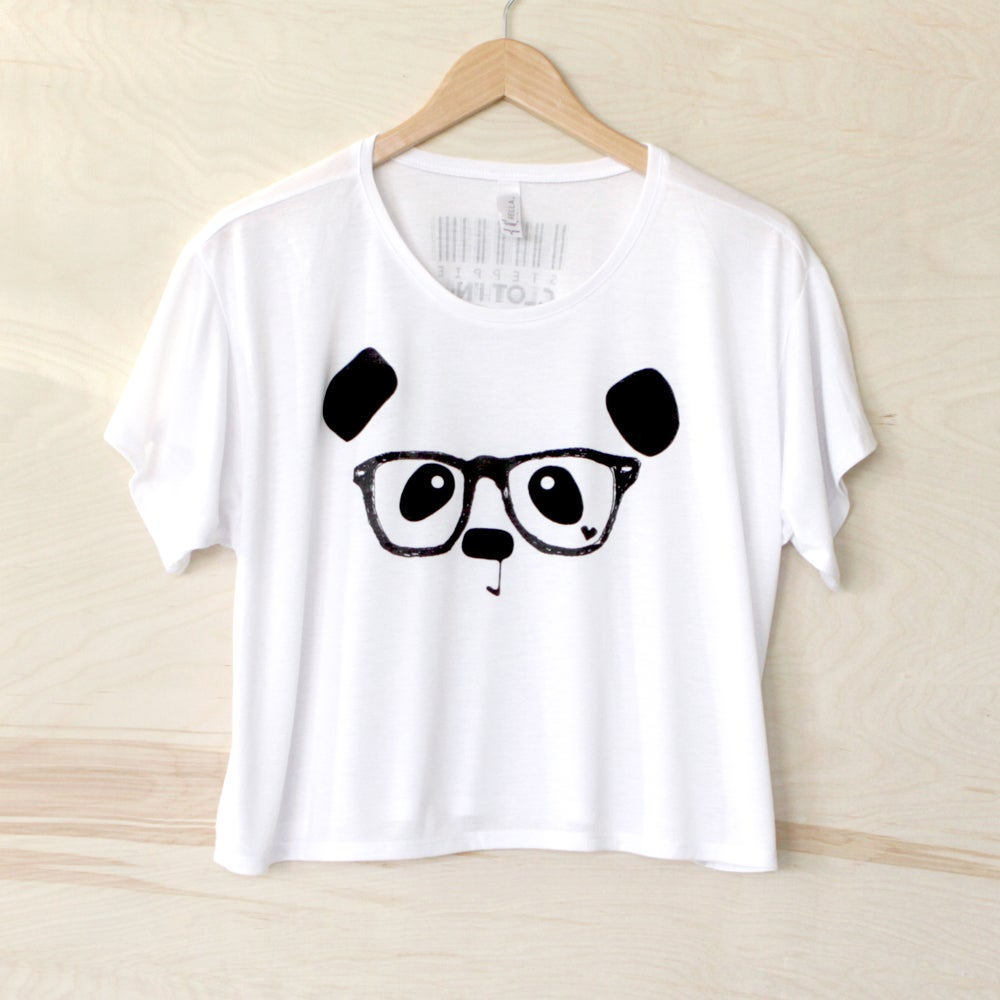 "Image of ""Nerdy Panda"" Loose Crop Tee"
