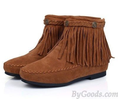 Image of Sweet Nubuck Leather Tassel Height Increasing Flat Boots