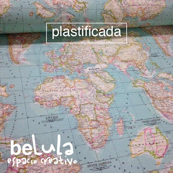 Image of Tela loneta Mapamundi plastificada
