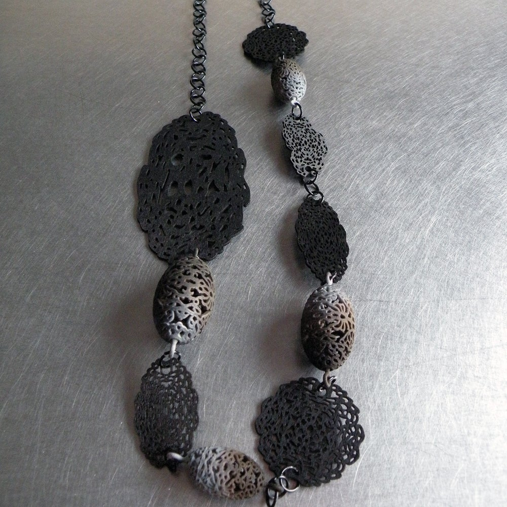 Image of 3D printed and lasered large necklace OVAL 2.floral