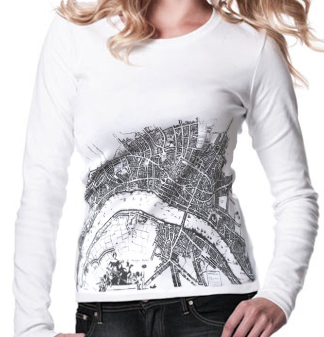"""Image of WOMEN'S LONG SLEEVED FITTED White T-SHIRT """"The River London Map"""""""