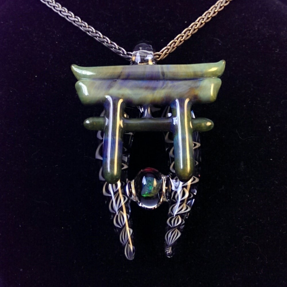 Image of Mystery Green Torii Gate with B/W filigree & Opal