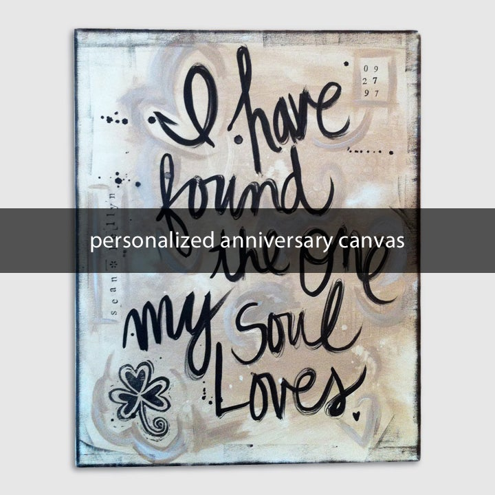 Image of personalized anniversary canvas 16x20