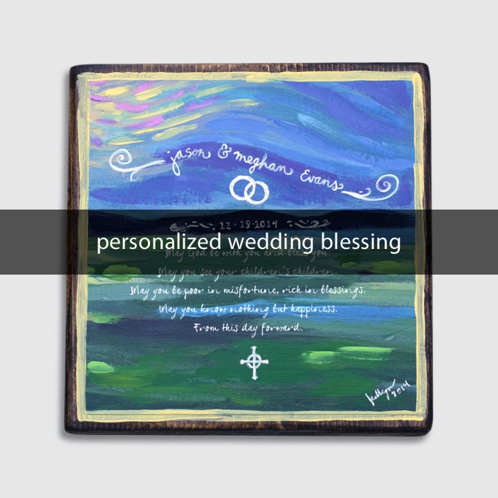 Image of personalized wedding blessing: 5x5x1.5 on wood