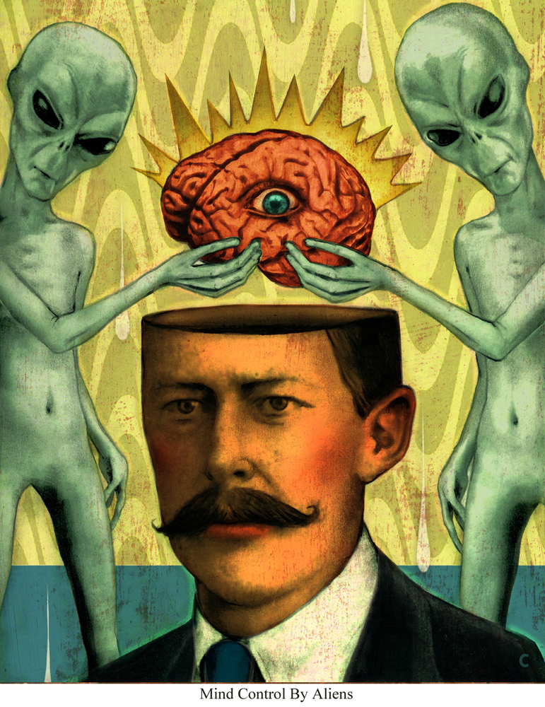 Image of Canvas Giclee- Mind Control By Aliens