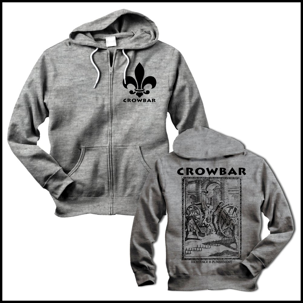 Image of CROWBAR EXISTENCE ZIPPER HOODIE GRAY