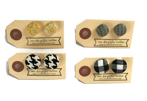 Image of Winter Favorites Fabric Button Earrings