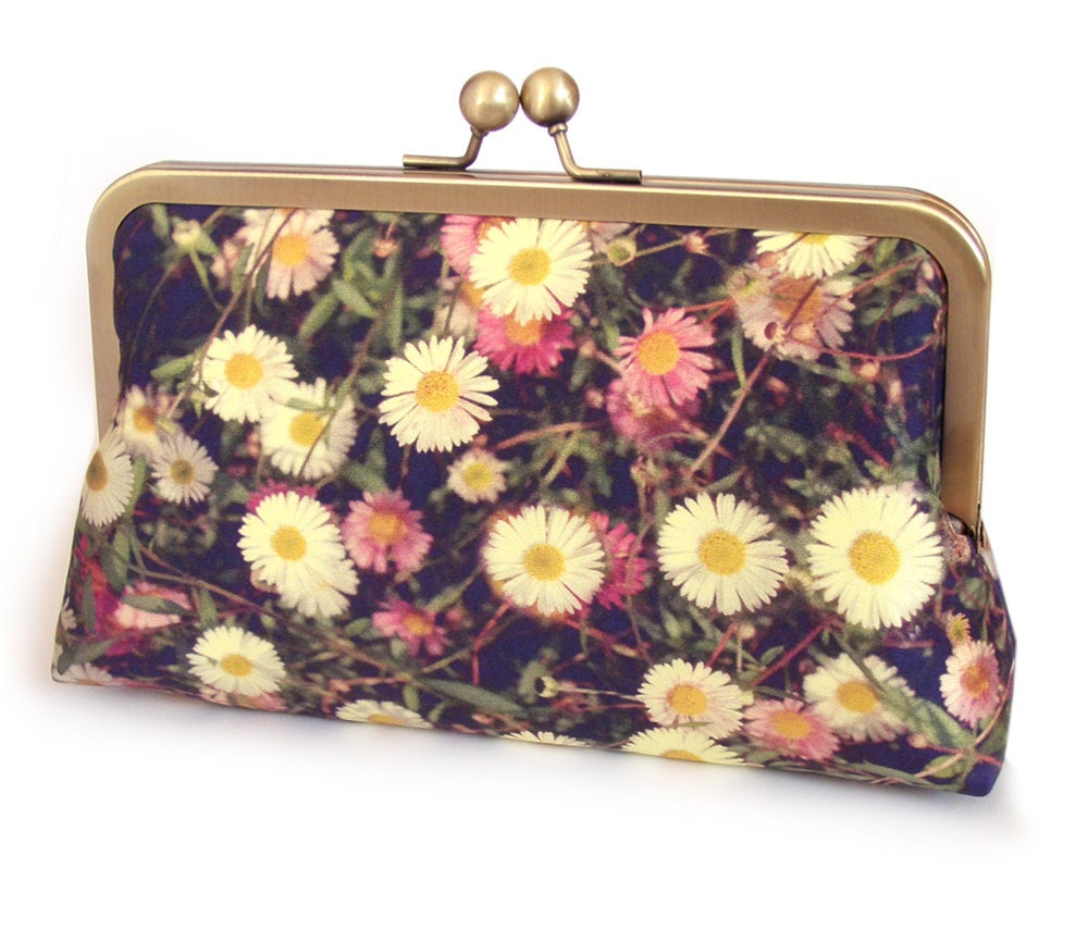 Image of White daisies clutch bag, silk floral purse