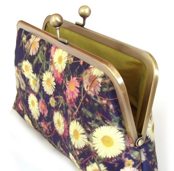 White daisies clutch bag, silk floral purse - Red Ruby Rose