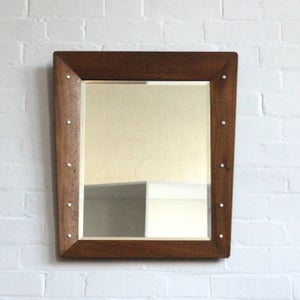 Image of French Mid-Century wooden mirror