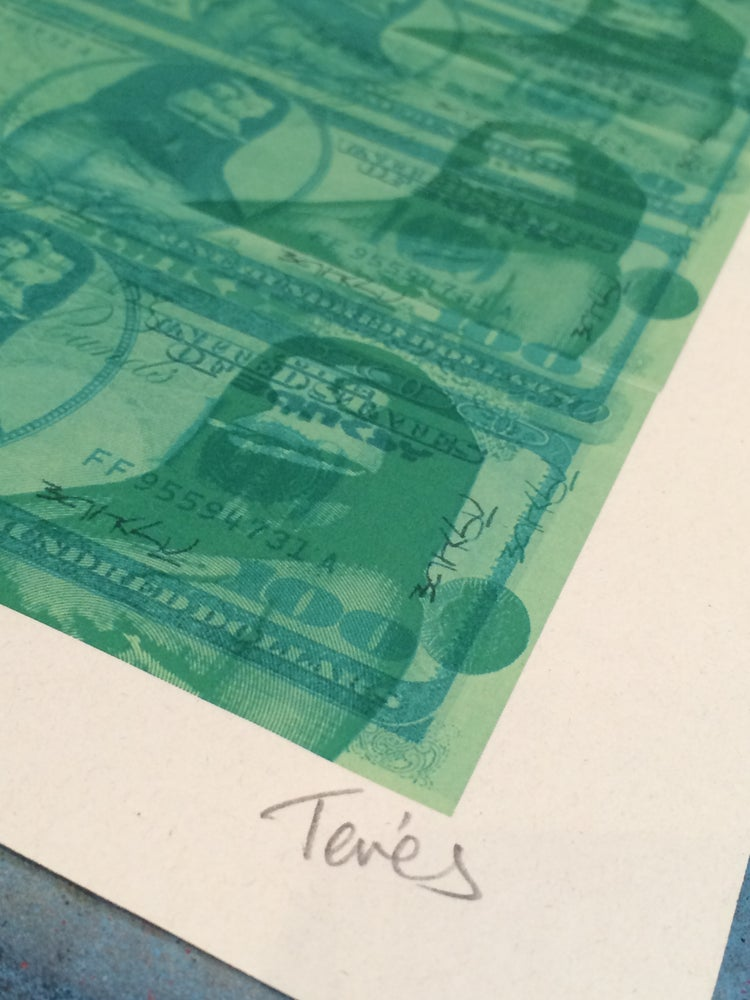 Image of THE REAL BANKSY STERLING NOTES / DOLLARS TEST PRINT by Tevés
