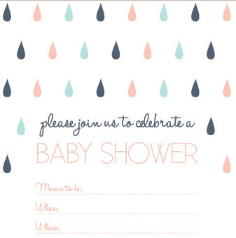 Image of Rain Drops Baby Shower Invitation
