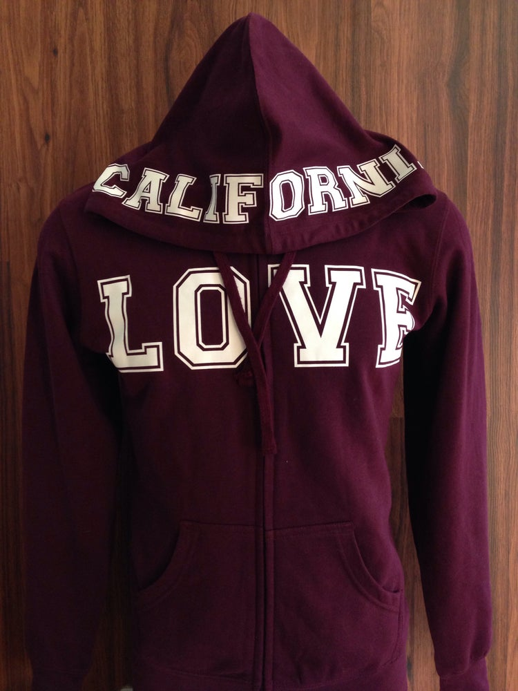 Image of Ladies - California Love Burgundy Zip up hoody