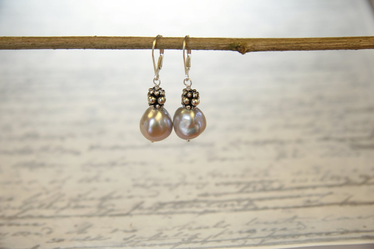 Blush Baroque and Sterling Silver Earrings