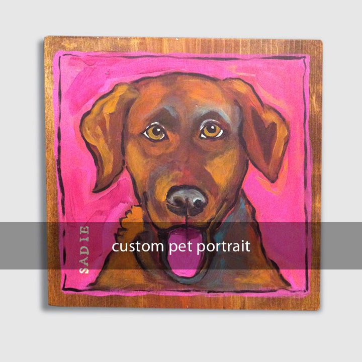 Image of custom pet portrait: hand-painted acrylic on 9x9x.5in wood