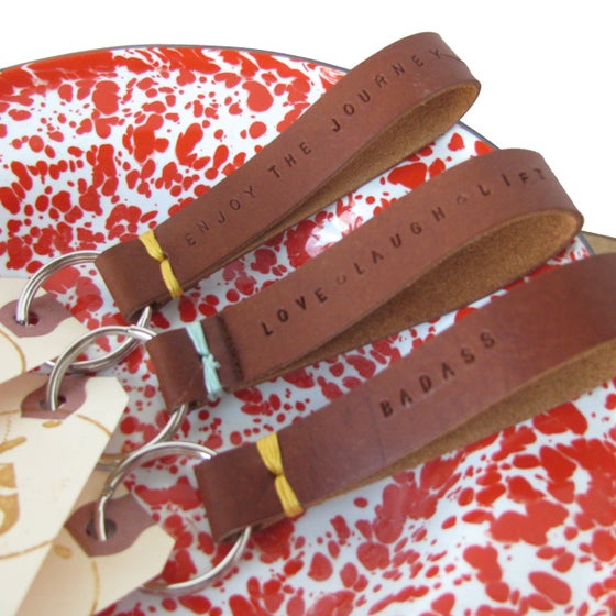 Image of Stitch Keychain: Personalized. Caramel Leather. Choose your stitch color.
