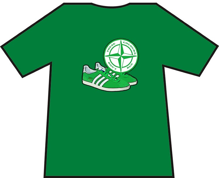 Hibs, Hibernian, Celtic, Ireland, Shamrock Rovers, Green & White Trainers & Badge T-Shirts.