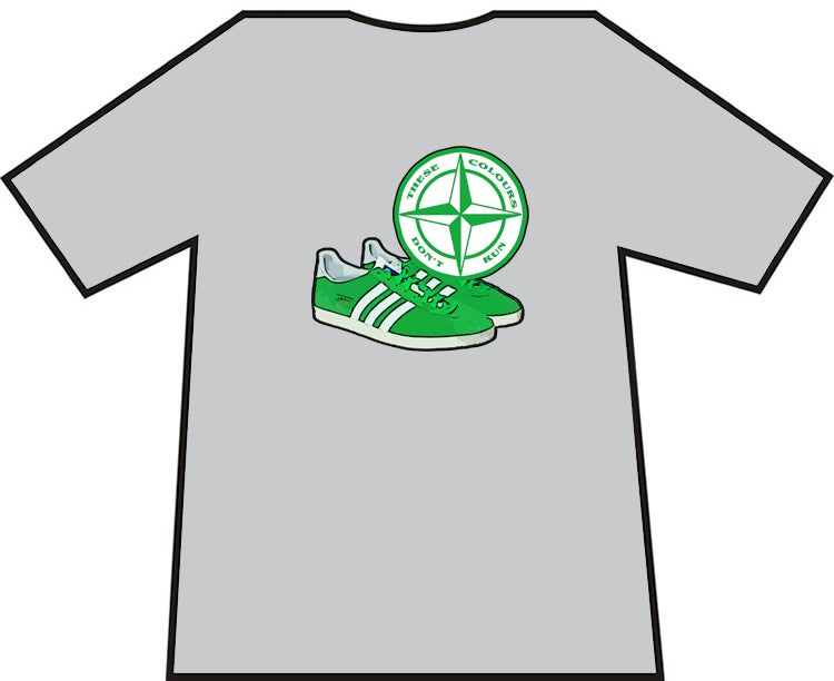 Image of Hibs, Hibernian, Celtic, Ireland, Shamrock Rovers, Green & White Trainers & Badge T-Shirts.