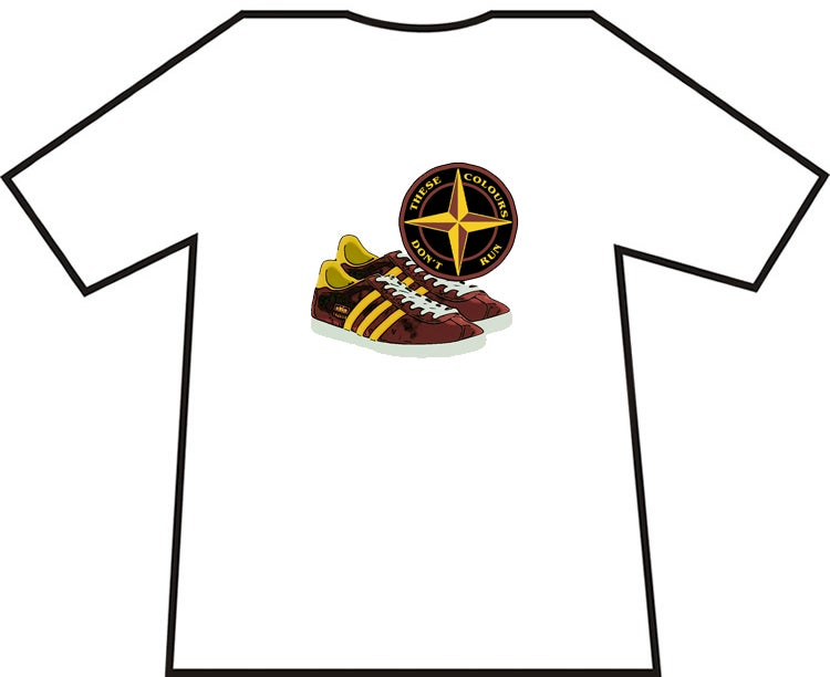 Motherwell, Bradford, etc Claret & Amber Trainers & Badge T-Shirts.