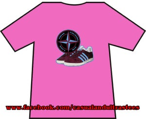 Maroon & Blue Trainers & Badge T-Shirts.