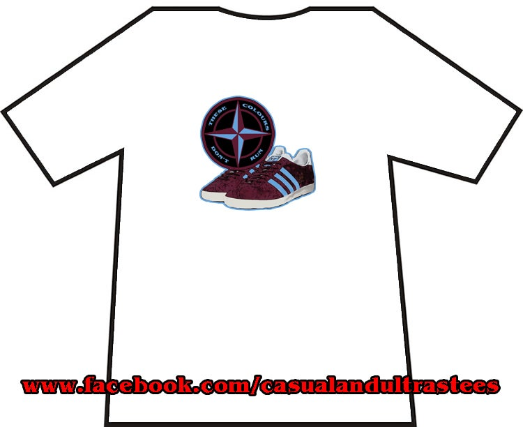 Image of Maroon & Blue Trainers & Badge T-Shirts.