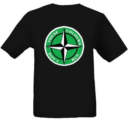 Image of These Colours Don't Run Green & Black Star Design T-Shirt.