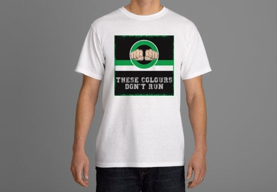 Image of These Colours Don't Run Green & Black Fists Design T-Shirt.