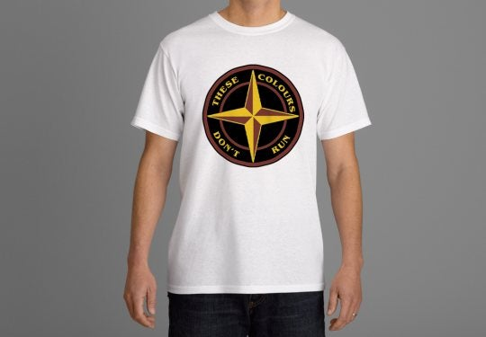 Image of These Colours Don't Run Claret & Amber Star Design T-Shirt.