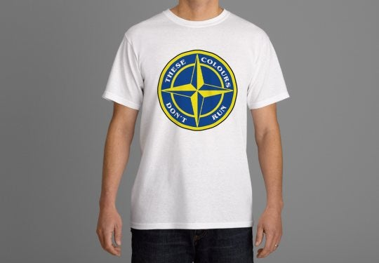 These Colours Don't Run Blue & Yellow Star Design T-Shirt.