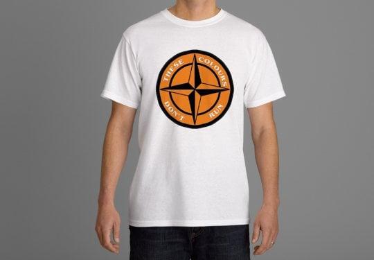 These Colours Don't Run Tangerine & Black Star Design T-Shirt.
