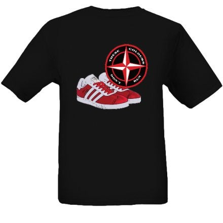 These Colours Don't Run Red & Black Trainers & Badge T-Shirt.