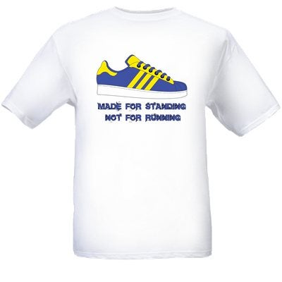 Made For Standing Not Running Blue & Yellow Design T-Shirt.