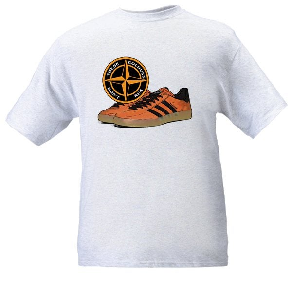 Image of These Colours Don't Run Tangerine & Black Trainers & Badge T-Shirt.