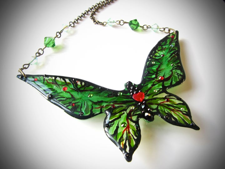 Poison Ivy Large Butterfly Resin Necklace