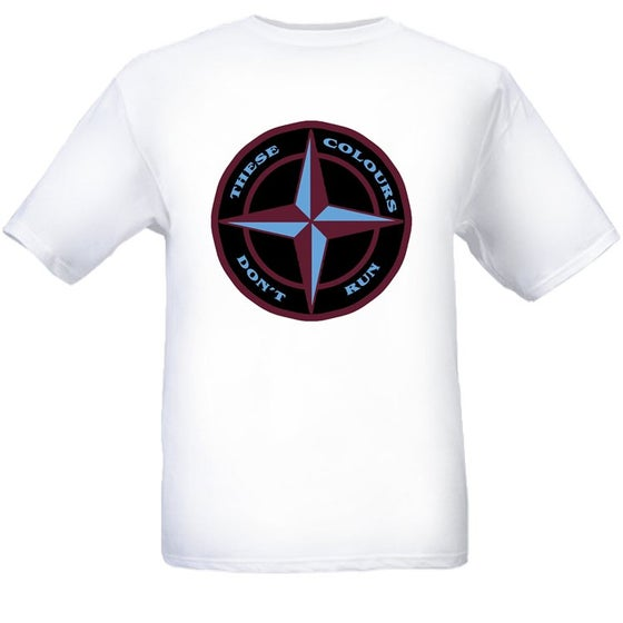 Image of These Colours Don't Run Maroon & Blue Star Design T-Shirt.
