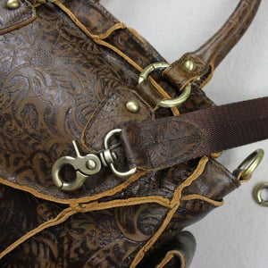 Image of Vintage Handmade Antique Carved Leather Women's Handbag / Purse / Messenger / Shoulder Bag (m11s)