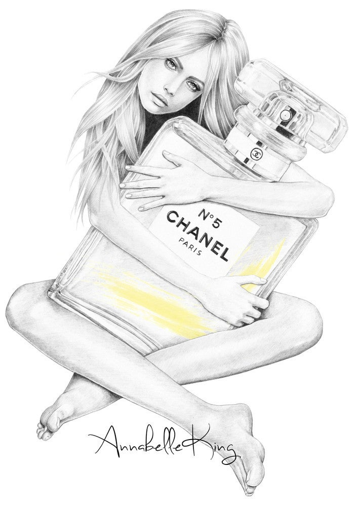 Image of CHANEL No5 - illustrated greetings card