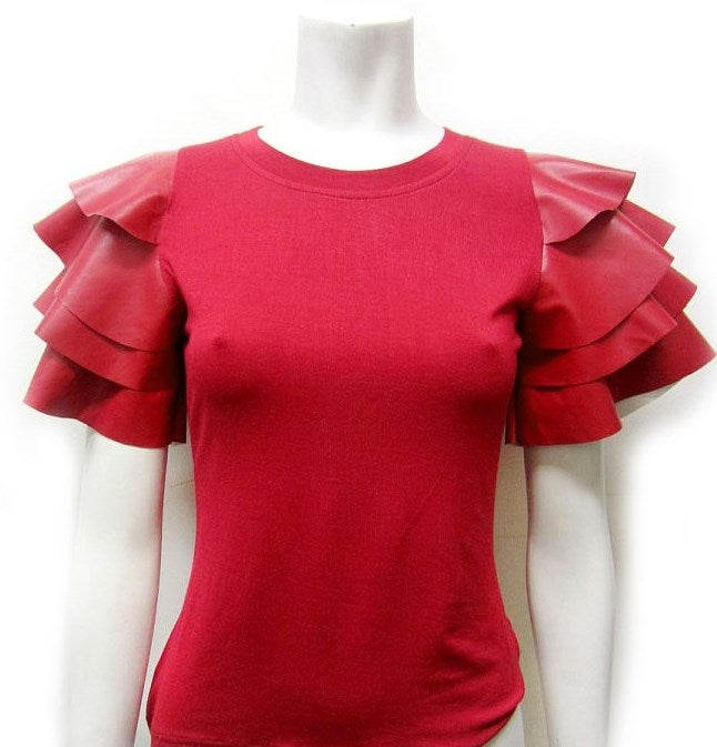 Image of Red Leather Ruffle Sleeve Top