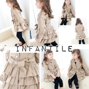 Image of Triple Ruffled Tan Coat with Jeweled Buttons and Bow Belt